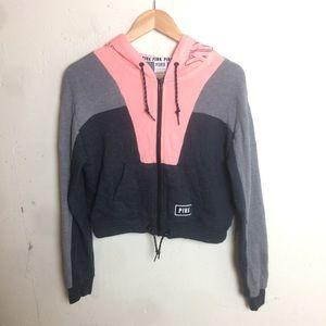VS PINK Spellout Cropped Hoodie Sweatshirt XS